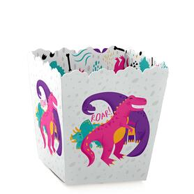 Roar Dinosaur Girl - Party Mini Favor Boxes - Dino Mite T-Rex Baby Shower or Birthday Party Treat Candy Boxes - Set of 12