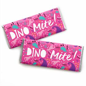 Roar Dinosaur Girl -  Candy Bar Wrapper Dino Mite T-Rex Baby Shower or Birthday Party Favors - Set of 24