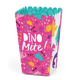 Roar Dinosaur Girl - Dino Mite T-Rex Baby Shower or Birthday Party Favor Popcorn Treat Boxes - Set of 12