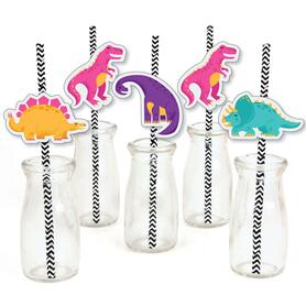 Roar Dinosaur Girl - Paper Straw Decor - Dino Mite T-Rex Baby Shower or Birthday Party Striped Decorative Straws - Set of 24