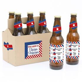 Election - Political Election Party - Decorations for Women and Men - 6 Beer Bottle Label Stickers and 1 Carrier