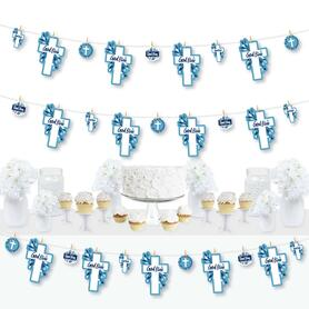 Blue Elegant Cross - Boy Religious Party DIY Decorations - Clothespin Garland Banner - 44 Pieces