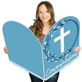 Blue Elegant Cross - Religious Congratulations Giant Greeting Card - Big Shaped Jumborific Card - 16.5 x 22 inches