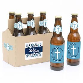 Blue Elegant Cross - 6 Boy Religious Party Decorations for Women and Men - 6 Beer Bottle Label Stickers and 1 Carrier