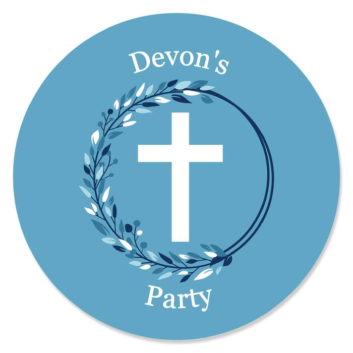 Blue Elegant Cross - Round Personalized Boy Religious Party Circle Sticker Labels - 24 ct