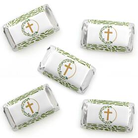 Elegant Cross - Mini Candy Bar Wrapper Stickers - Religious Party Small Favors - 40 Count