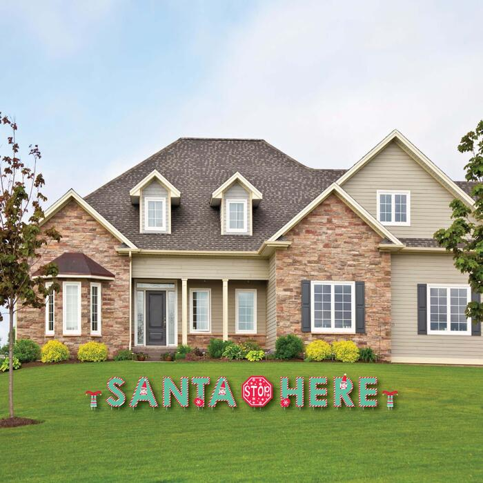 Elf Squad - Yard Sign Outdoor Lawn Decorations - Kids Elf Christmas Yard Signs - Santa Stop Here