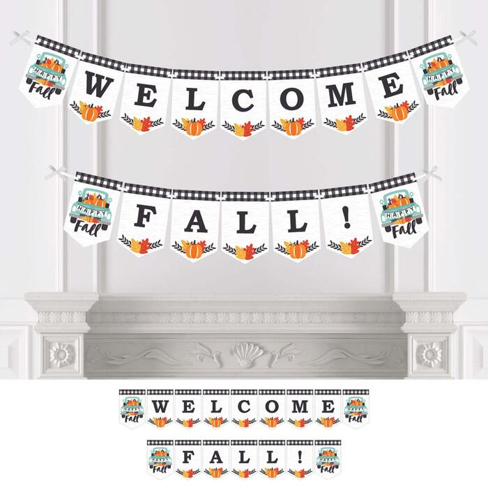 Happy Fall Truck - Harvest Pumpkin Party Bunting Banner - Party Decorations - Welcome Fall