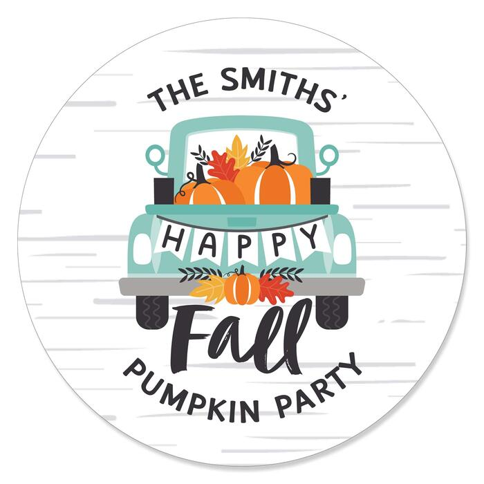 Happy Fall Truck - Harvest Pumpkin Party Circle Sticker Labels - 24 Count