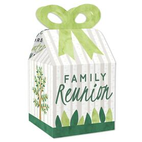 Family Tree Reunion - Square Favor Gift Boxes - Family Gathering Party Bow Boxes - Set of 12