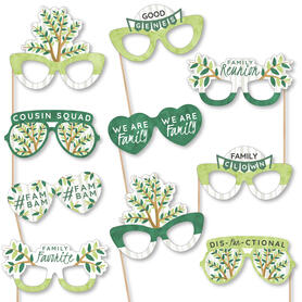 Family Tree Reunion Glasses - Paper Card Stock Family Gathering Party Photo Booth Props Kit - 10 Count