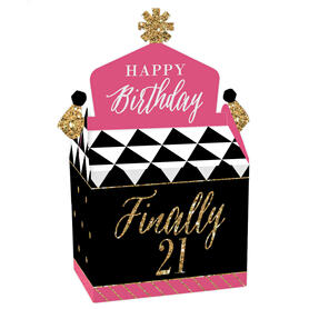 Finally 21 Girl - Treat Box Party Favors - 21st Birthday Party Goodie Gable Boxes - Set of 12