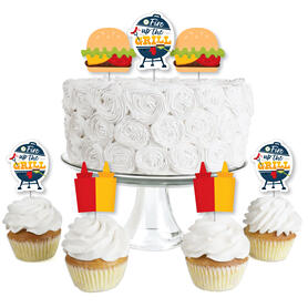 Fire Up the Grill - Dessert Cupcake Toppers - Summer BBQ Picnic Party Clear Treat Picks - Set of 24