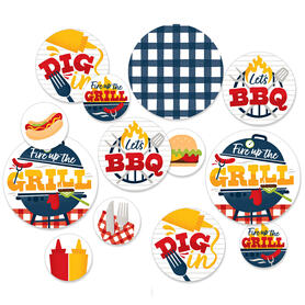 Fire Up the Grill - Summer BBQ Picnic Party Giant Circle Confetti - Party Decorations - Large Confetti 27 Count