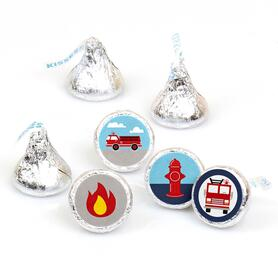 Fired Up Fire Truck - Firefighter Firetruck Baby Shower or Birthday Party Round Candy Sticker Favors - Labels Fit Hershey's Kisses - 108 ct