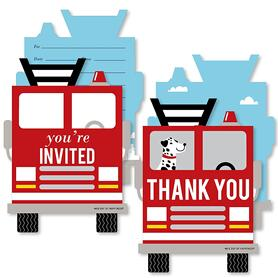 Fired Up Fire Truck - 20 Shaped Fill-In Invitations and 20 Shaped Thank You Cards Kit - Firefighter Firetruck Baby Shower or Birthday Party Stationery Kit - 40 Pack