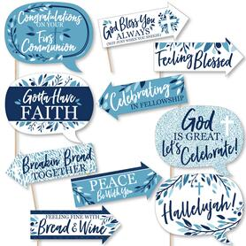 Funny First Communion Blue Elegant Cross - Boy Religious Party 10 Piece Photo Booth Props Kit