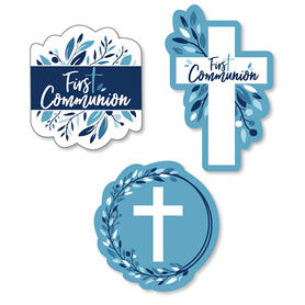 First Communion Blue Elegant Cross - DIY Shaped Boy Religious Party Cut-Outs - 24 ct
