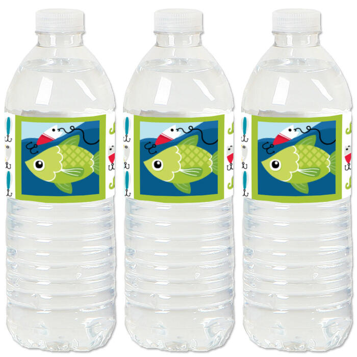Let's Go Fishing - Fish Themed Party or Birthday Party Water Bottle Sticker Labels - Set of 20