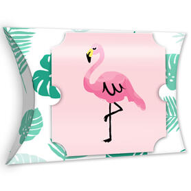Pink Flamingo - Party Like a Pineapple - Favor Gift Boxes - Tropical Summer Party Large Pillow Boxes - Set of 12