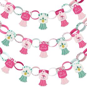 Pink Flamingo - Party Like a Pineapple - 90 Chain Links and 30 Paper Tassels Decoration Kit - Tropical Summer Party Paper Chains Garland - 21 feet