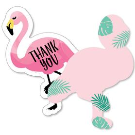 Pink Flamingo - Party Like a Pineapple - Shaped Thank You Cards - Baby Shower or Birthday Party Thank You Note Cards with Envelopes - Set of 12