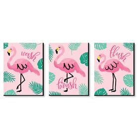 Pink Flamingo - Kids Bathroom Rules Wall Art - 7.5 x 10 inches - Set of 3 Signs - Wash, Brush, Flush