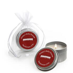 End Zone - Football - Personalized Baby Shower Candle Tin Favors - Set of 12