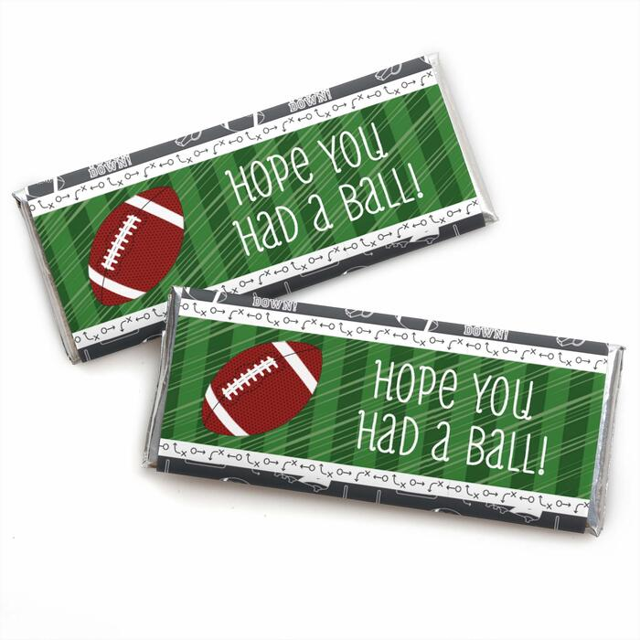 End Zone - Football -  Candy Bar Wrapper Baby Shower or Birthday Party Favors - Set of 24