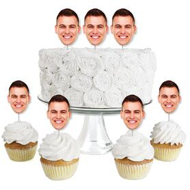 Fun Face Cutout Dessert Cupcake Toppers - Custom Photo Head Cut Out Clear Treat Picks - Upload 1 Photo - Set of 24