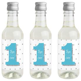 1st Birthday Boy - Fun to be One - Mini Wine and Champagne Bottle Label Stickers - First Birthday Party Favor Gift - For Women and Men - Set of 16