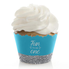 1st Birthday Boy - Fun to be One - First Birthday Decorations - Party Cupcake Wrappers - Set of 12