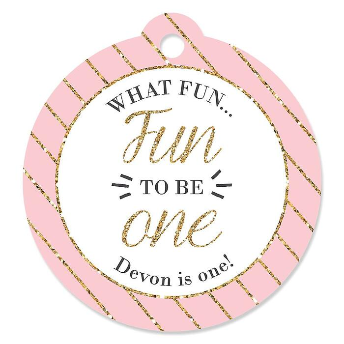 1st Birthday Girl - Fun to be One - Personalized First Birthday Party Tags - 20 ct