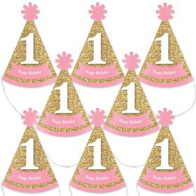 1st Birthday Girl - Fun to be One - Mini Cone First Birthday Party Hats - Small Little Party Hats - Set of 8