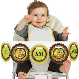Funfari™ - Fun Safari Jungle 1st Birthday - I am One - First Birthday High Chair Banner
