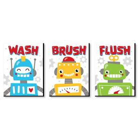 Gear Up Robots - Kids Bathroom Rules Wall Art - 7.5 x 10 inches - Set of 3 Signs - Wash, Brush, Flush