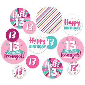 Girl 13th Birthday - Official Teenager Birthday Party Giant Circle Confetti - Party Decorations - Large Confetti 27 Count