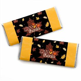 Give Thanks -  Candy Bar Wrapper Thanksgiving Party Favors - Set of 24