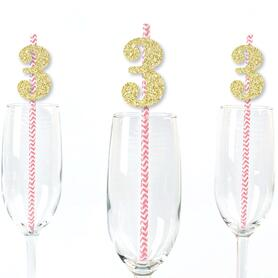 Gold Glitter 3 Party Straws - No-Mess Real Gold Glitter Cut-Out Numbers & Decorative 3rd Birthday Party Paper Straws - Set of 24