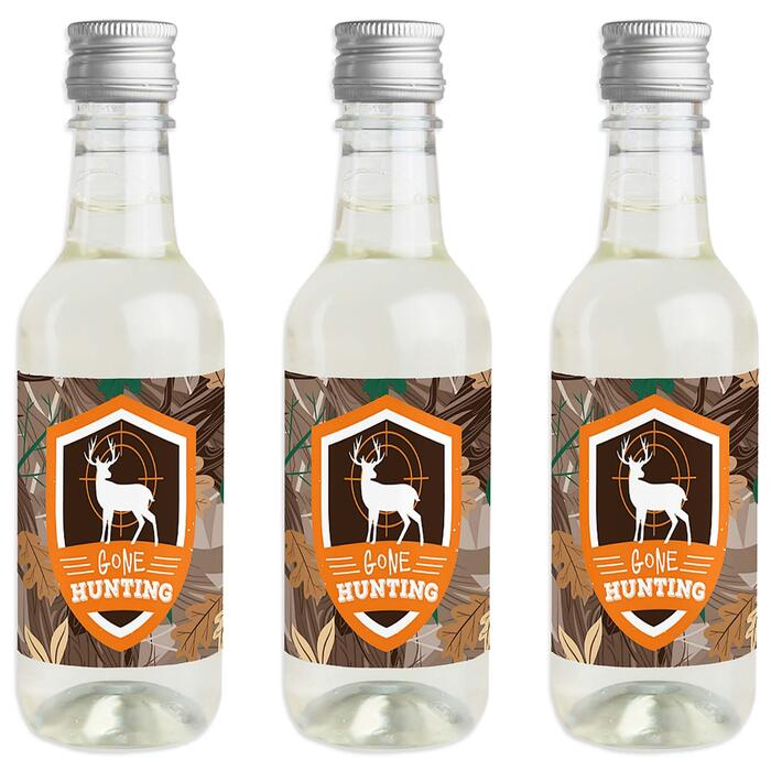 Gone Hunting - Mini Wine and Champagne Bottle Label Stickers - Deer Hunting Camo Party Favor Gift - For Women and Men - Set of 16