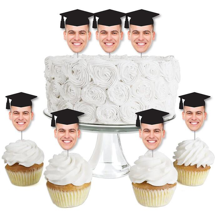 Grad Cap Fun Face Cutout Dessert Cupcake Toppers - Custom Graduation Photo Head Cut Out Clear Treat Picks - Upload 1 Photo - Set of 24