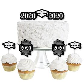 Graduation Cheers - Dessert Cupcake Toppers - 2020 Graduation Party Clear Treat Picks - Set of 24