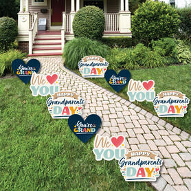 Happy Grandparents Day - Heart Lawn Decorations - Outdoor Grandma & Grandpa Party Yard Decorations - 10 Piece