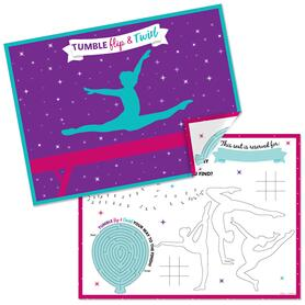 Tumble, Flip & Twirl - Gymnastics - Paper Gymnast Birthday Party Coloring Sheets - Activity Placemats - Set of 16