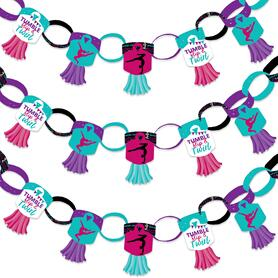 Tumble, Flip & Twirl - Gymnastics - 90 Chain Links and 30 Paper Tassels Decoration Kit - Birthday Party or Gymnast Party Paper Chains Garland - 21 feet
