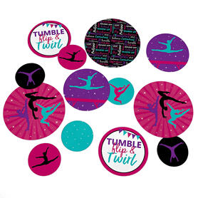 Tumble, Flip & Twirl - Gymnastics - Birthday Party or Gymnast Party Giant Circle Confetti - Party Decorations - Large Confetti 27 Count