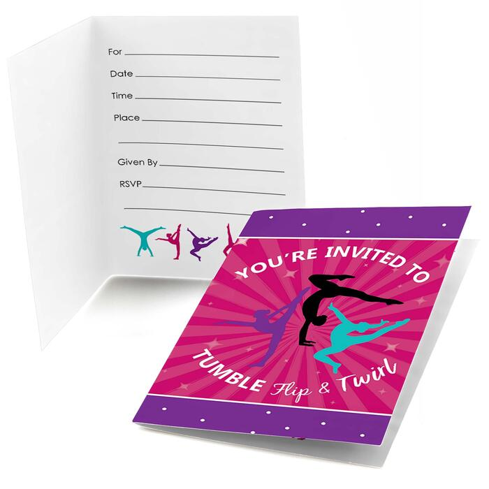 Tumble, Flip & Twirl - Gymnastics - Fill In Birthday Party or Gymnast Party Invitations - 8 ct