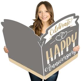 Happy Anniversary - Gold and Silver Wedding Anniversary Congratulations Giant Greeting Card - Big Shaped Jumborific Card - 16.5 x 22 inches