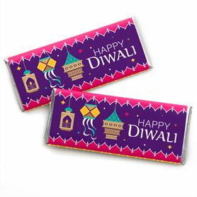Happy Diwali -  Candy Bar Wrapper Festival of Lights Party Favors - Set of 24
