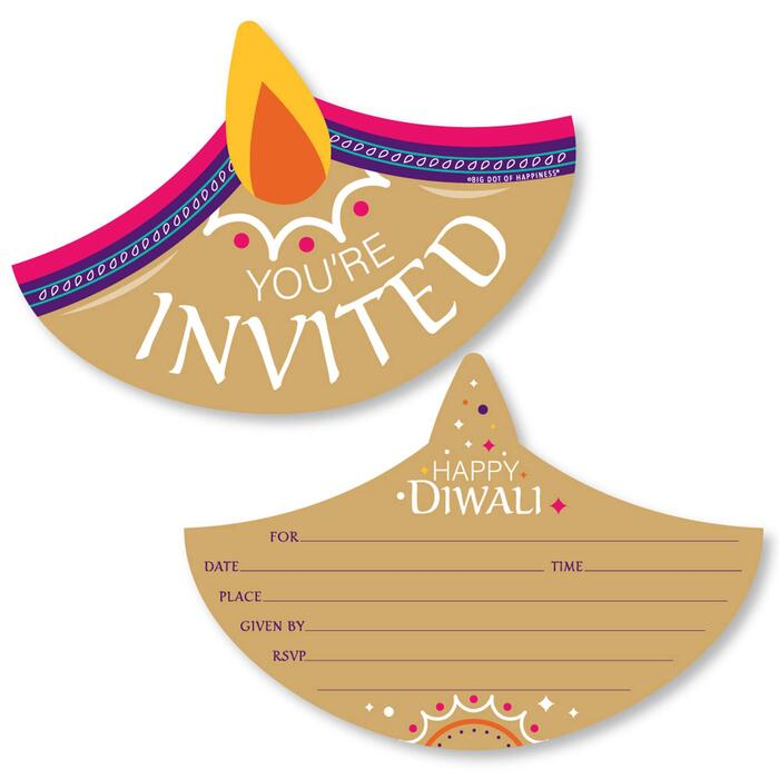Happy Diwali - Shaped Fill-In Invitations - Festival of Lights Party Invitation Cards with Envelopes - Set of 12